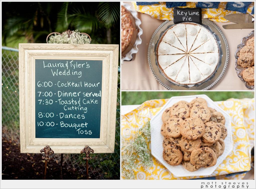 home wedding deseert pie station chalk board