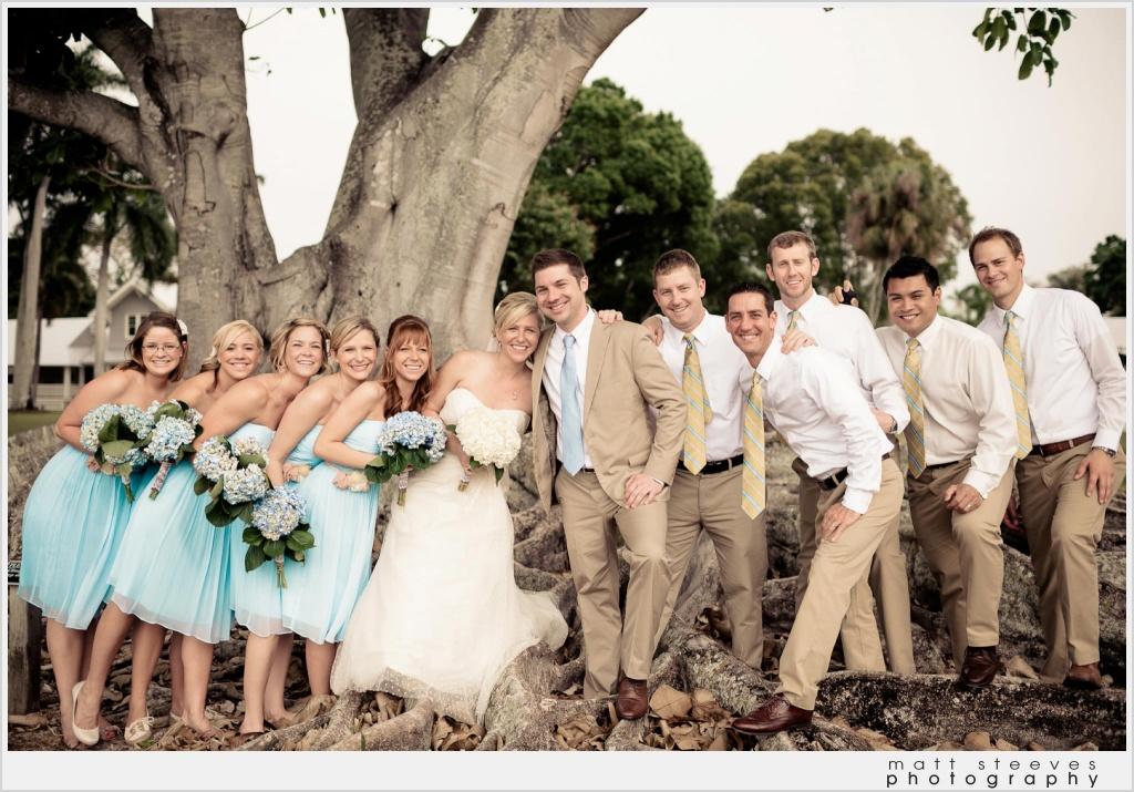 home wedding blue bridesmaids