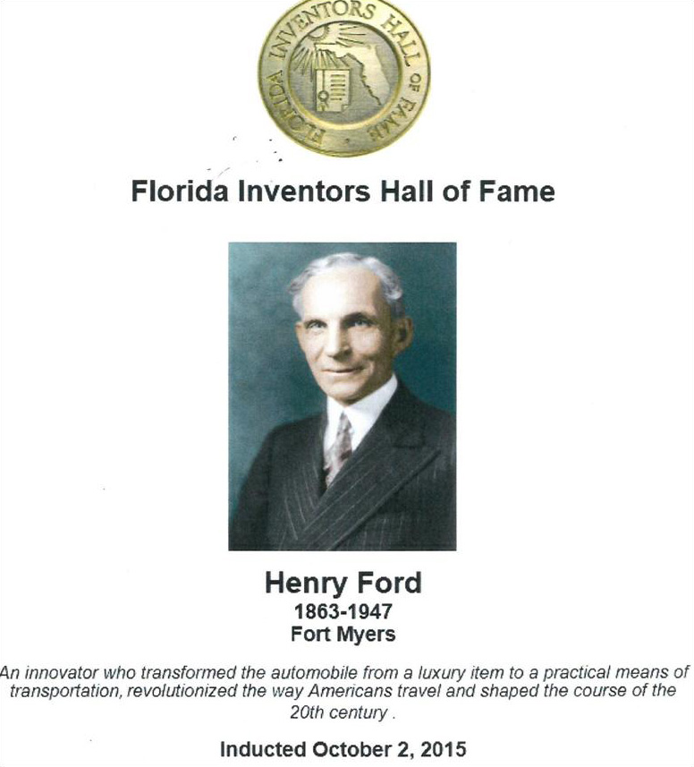 Henry Ford Florida Inventors Hall of Fame July 2015