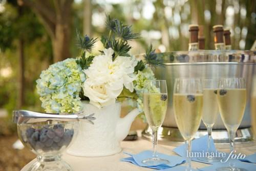 champagne toast blueberries vintage garden wedding theme