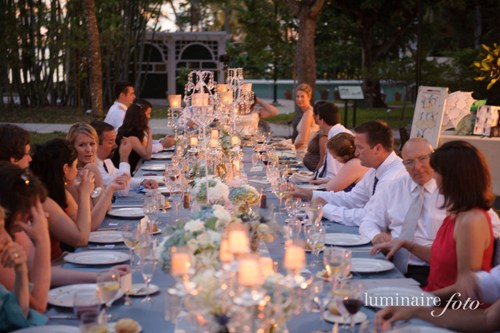 family style dining table wedding long crystal candelabra mason jars blue
