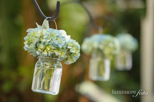 garden wedding mason jars shepard hooks blue hydrangea