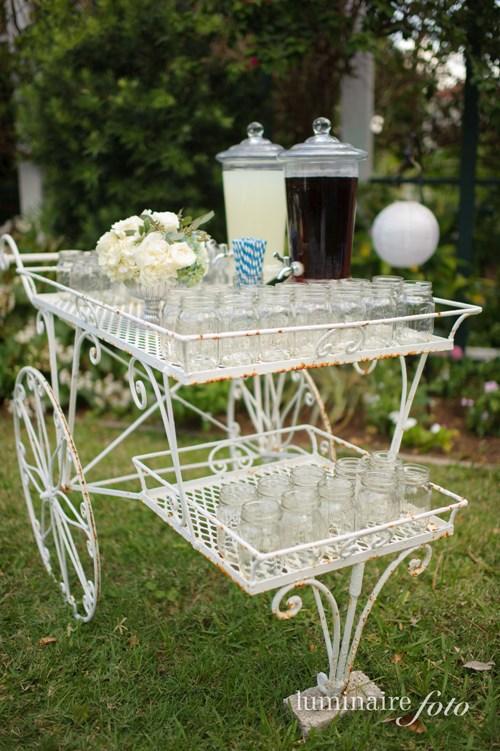 lemonade iced tea garden wedding mason jars striped straws