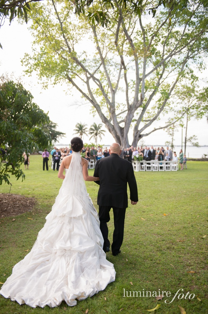 long train wedding dress outdoor wedding big tree florida