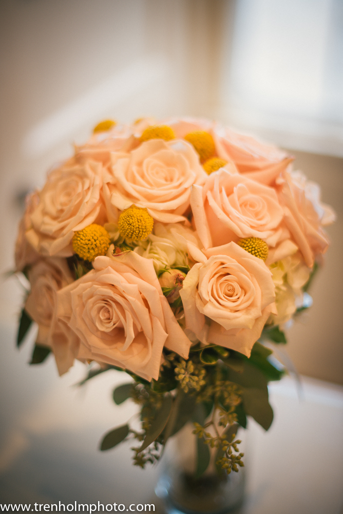 pink roses yellow billy balls seeded eucalyptus wedding bouquet