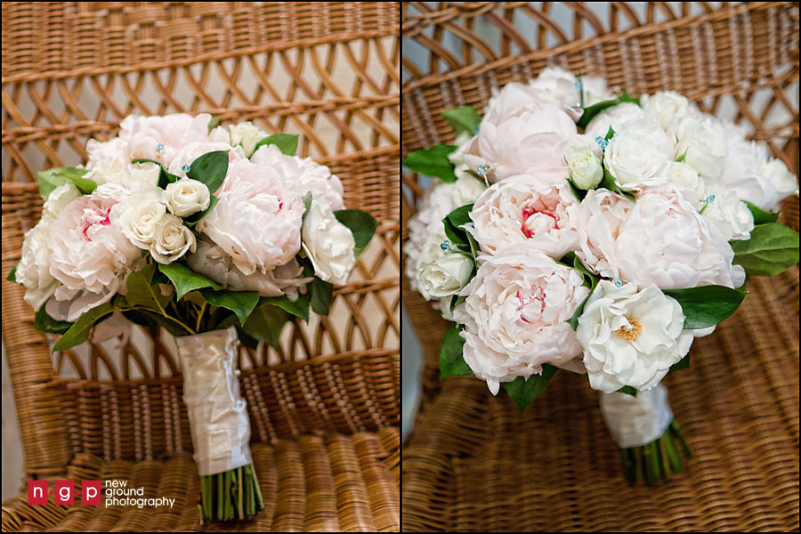 pink white peony bouquet garden roses blue jewels bling crystals
