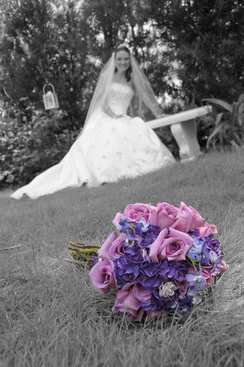 purple hydrangeas and roses