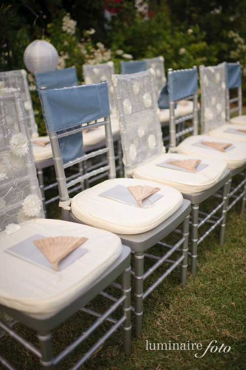 silver wedding chairs blue sheer covers fans programs garden