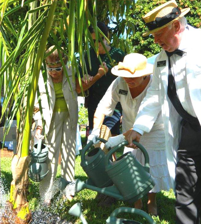 Thomas and Mina Edison are joined in tree planting by Edison Ford garden patron, Berne Davis, and a member of the Fort Myers-Lee County Garden Council.