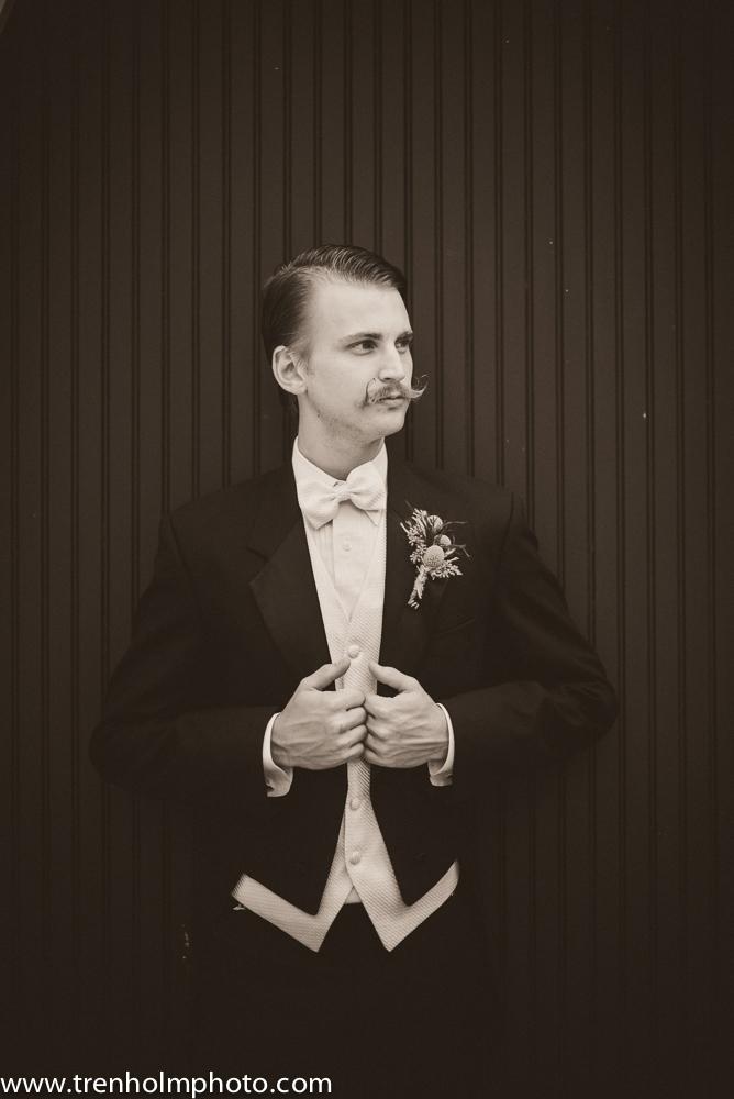 white tie tuxedo vintage wedding mustache groom